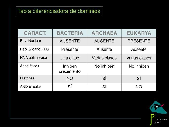 Tabla diferenciadora de dominios