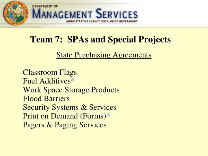 Team 7:  SPAs and Special Projects