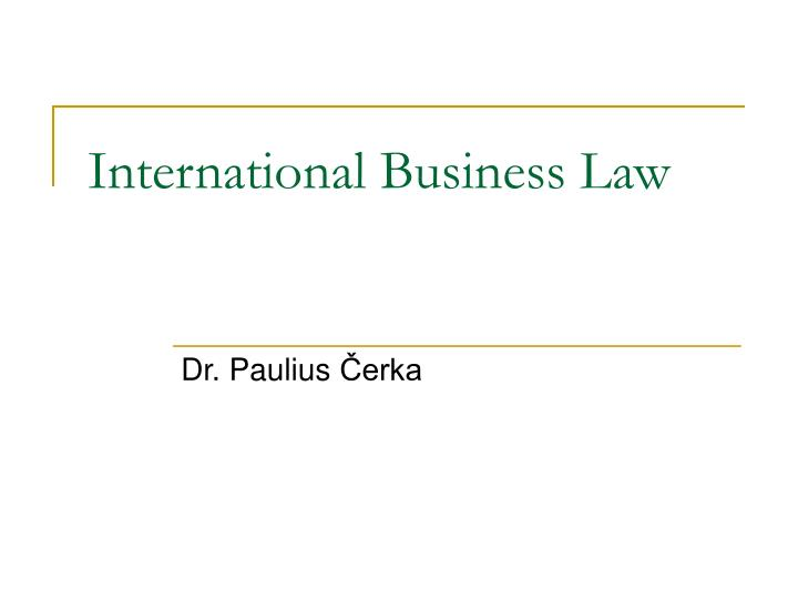 Presentation on business law