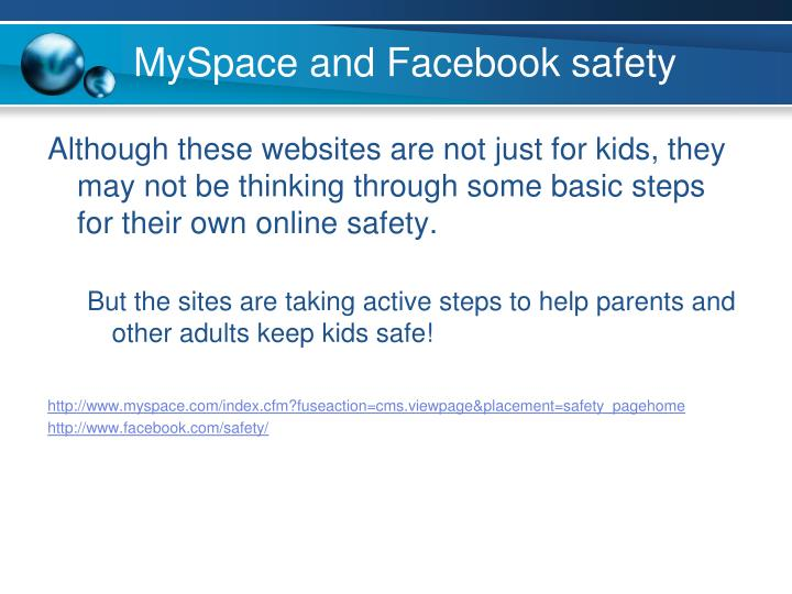 MySpace and Facebook safety