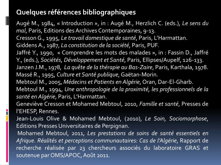 Quelques références bibliographiques