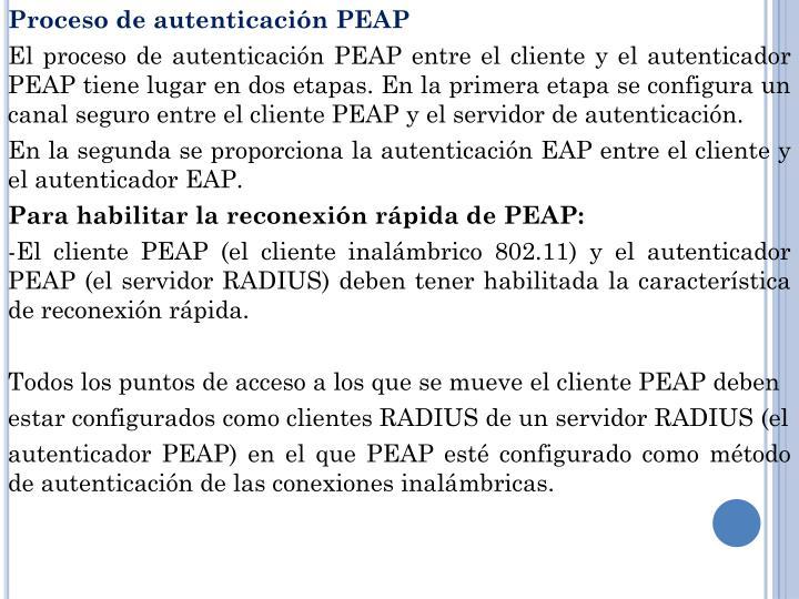 Proceso de autenticación PEAP