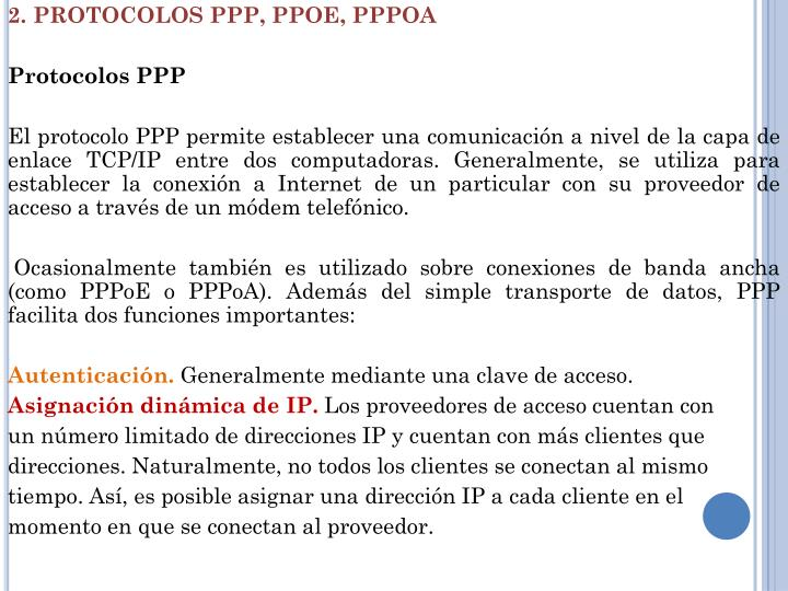 2. PROTOCOLOS PPP, PPOE,