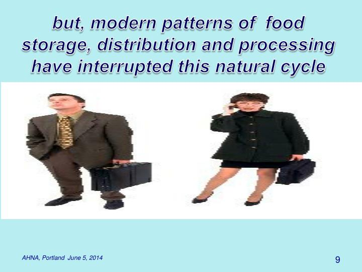 but, modern patterns of  food storage, distribution and processing have interrupted this natural cycle
