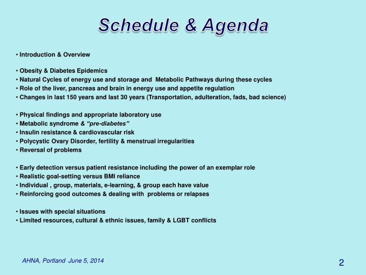 Schedule & Agenda