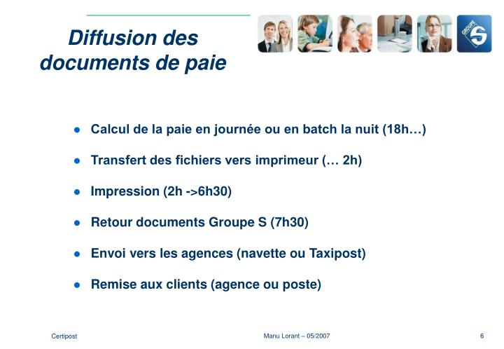 Diffusion des documents de paie