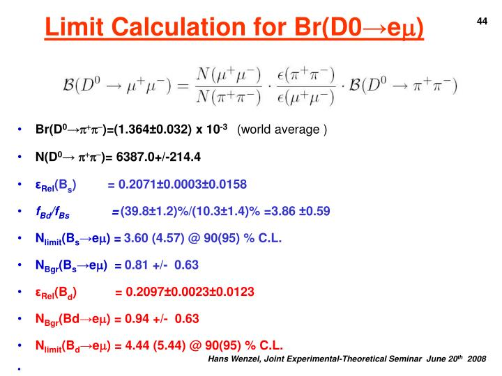 Limit Calculation for Br(D0