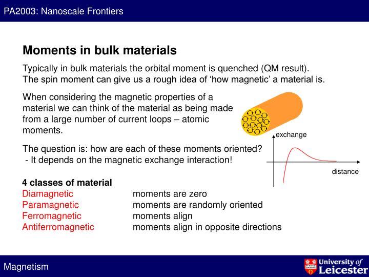 Moments in bulk materials