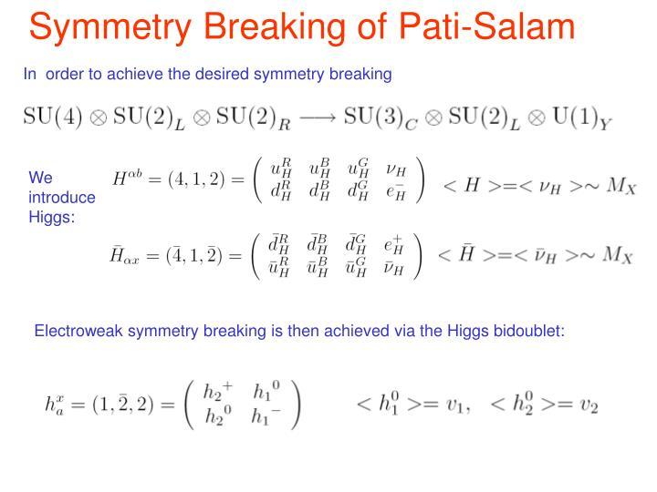 Symmetry Breaking of Pati-Salam