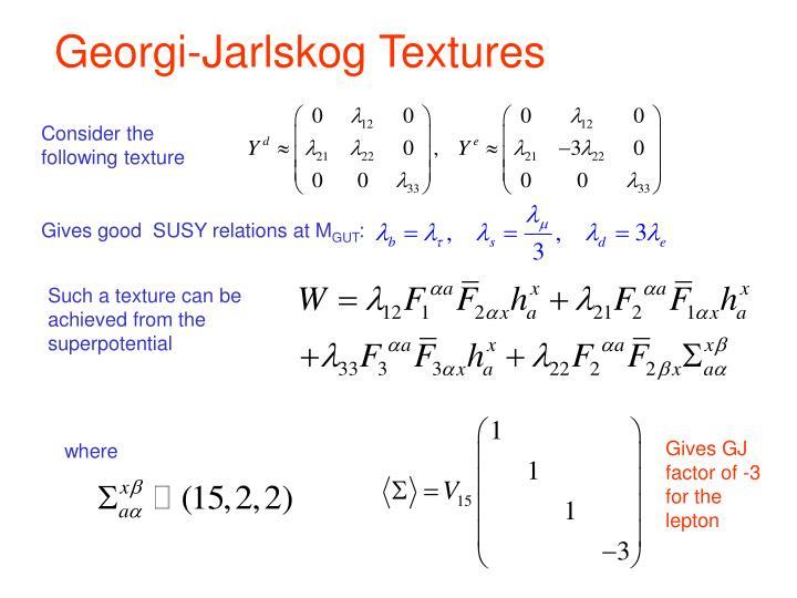 Georgi-Jarlskog Textures