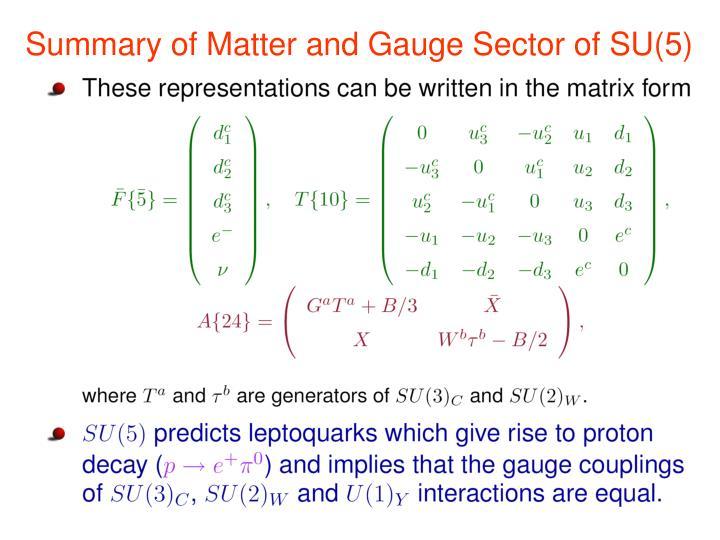 Summary of Matter and Gauge Sector of SU(5)
