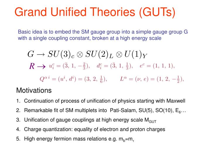 Grand Unified Theories (GUTs)