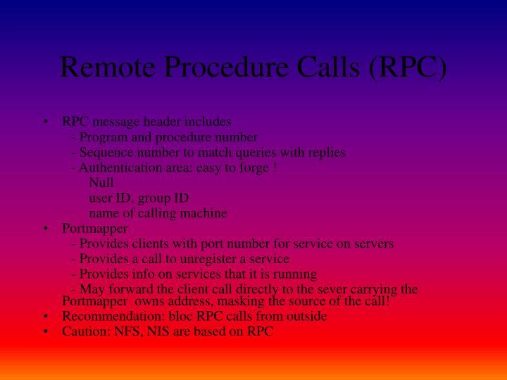 Remote Procedure Calls (RPC)