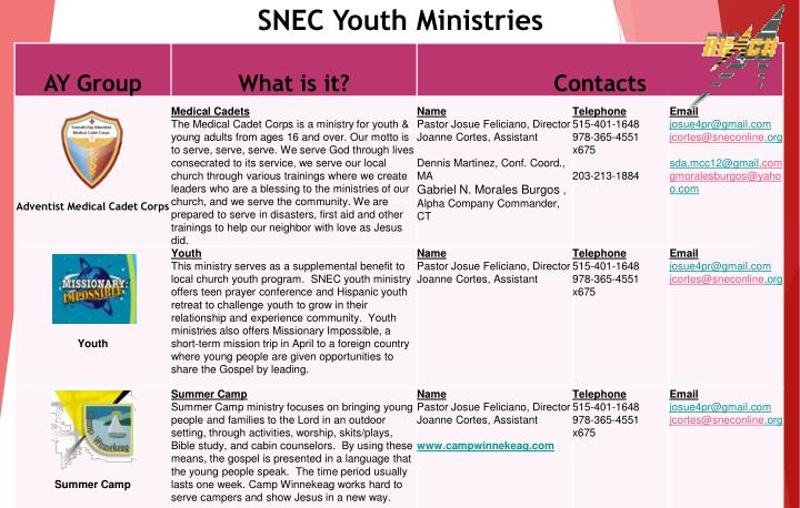 SNEC Youth Ministries