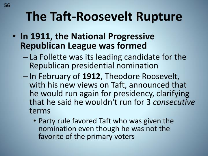 The Taft-Roosevelt Rupture