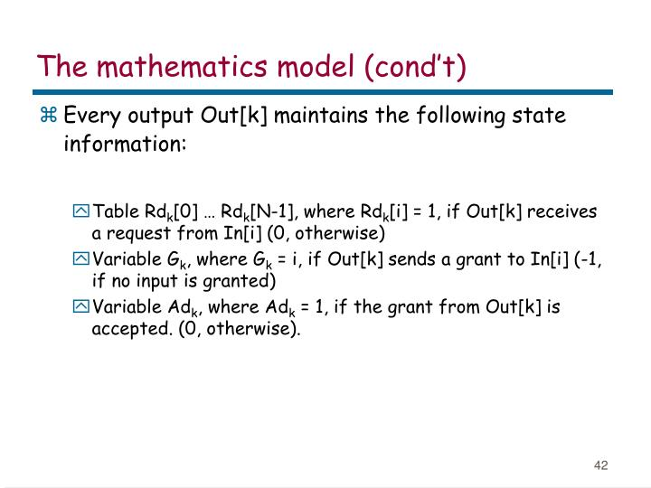 The mathematics model (cond't)