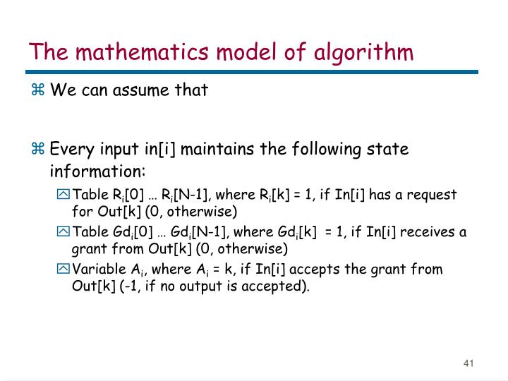 The mathematics model of algorithm
