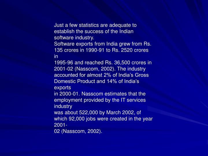 Just a few statistics are adequate to establish the success of the Indian software industry.