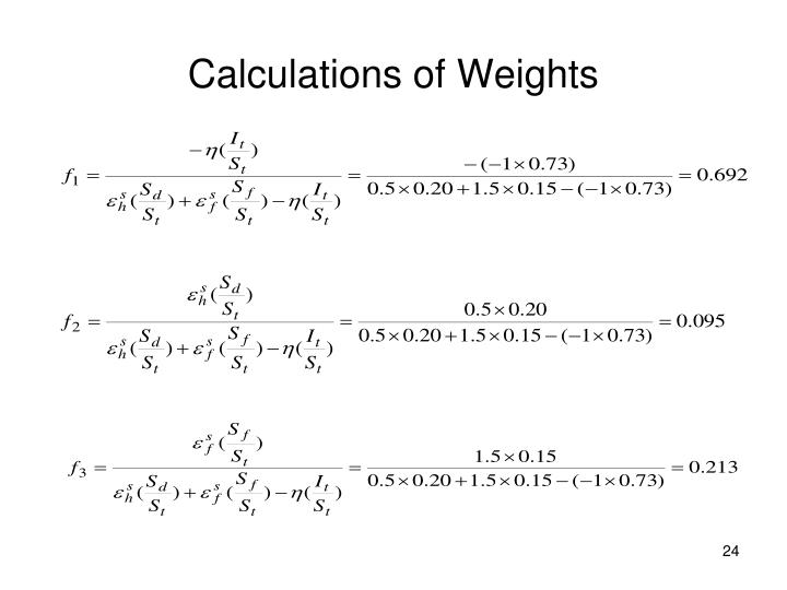 Calculations of Weights