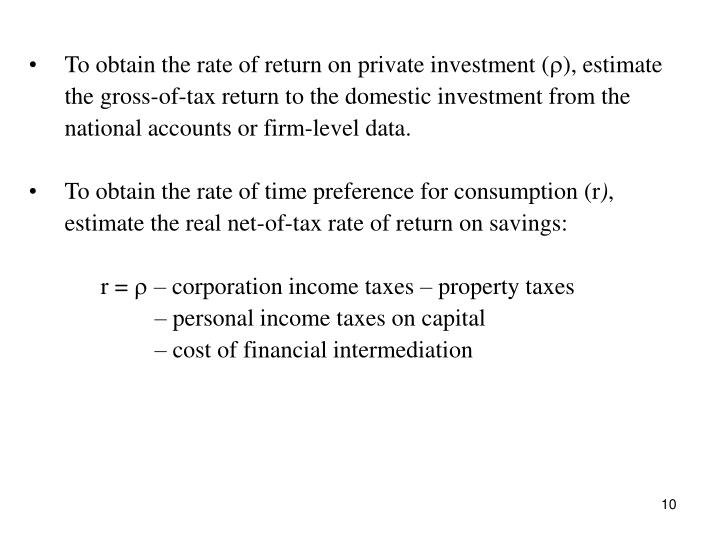 To obtain the rate of return on private investment (