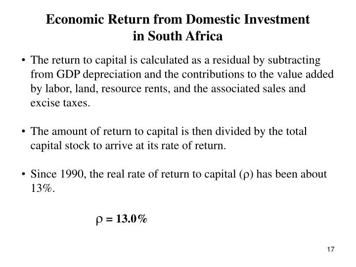 Economic Return from Domestic Investment
