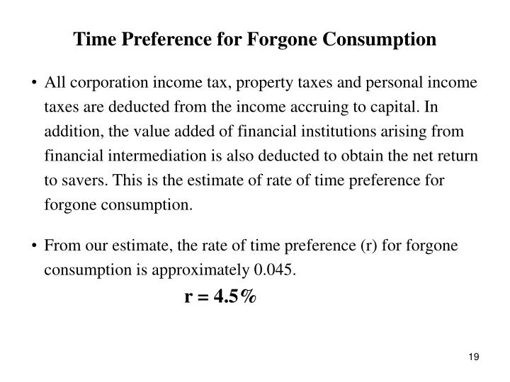 Time Preference for Forgone Consumption