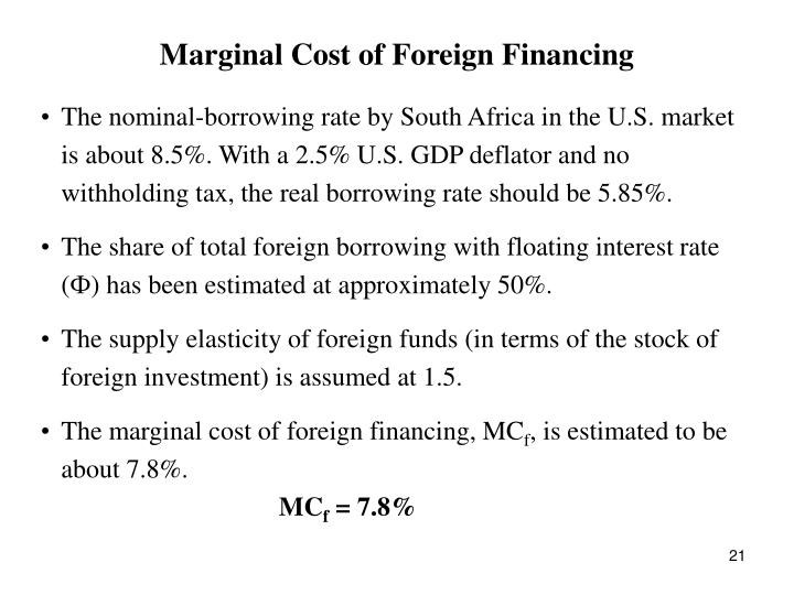 Marginal Cost of Foreign Financing