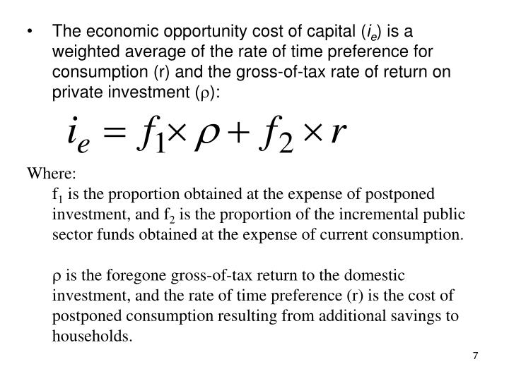 The economic opportunity cost of capital (