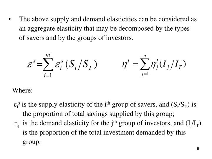 The above supply and demand elasticities can be considered as an aggregate elasticity that may be decomposed by the types of savers and by the groups of investors.