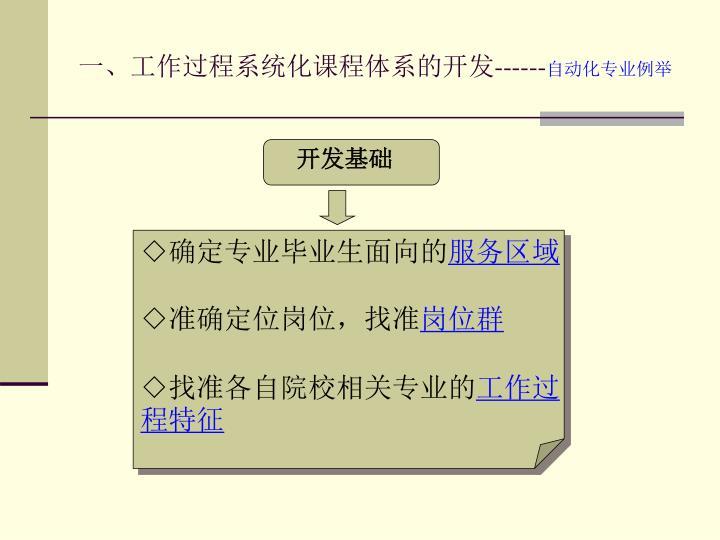 一、工作过程系统化课程体系的开发