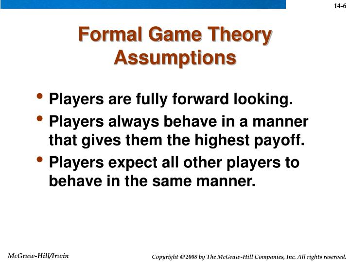 Formal Game Theory Assumptions