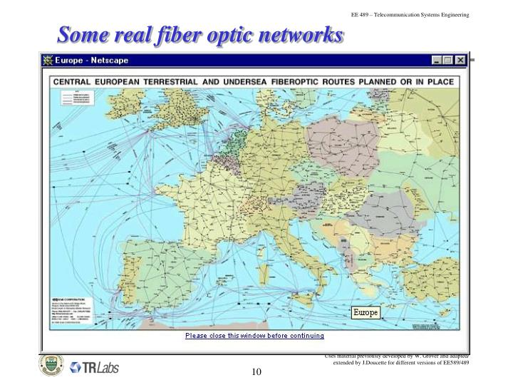 Some real fiber optic networks