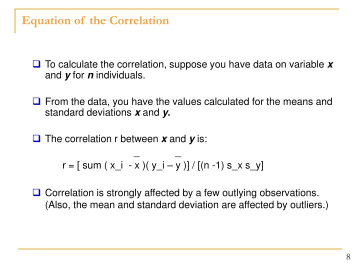 Equation of the Correlation