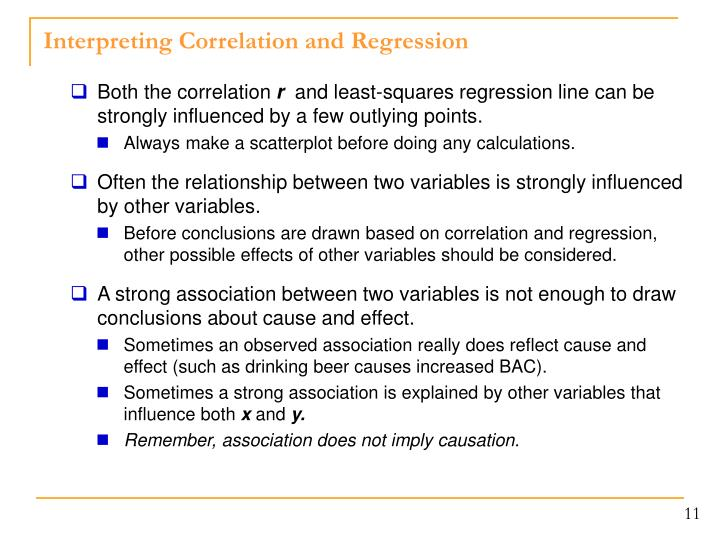 Interpreting Correlation and Regression