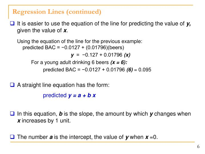 Regression Lines (continued)