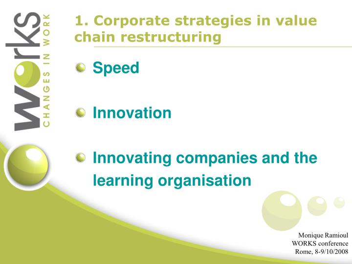 1. Corporate strategies in value chain restructuring