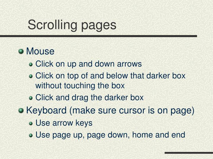 Scrolling pages