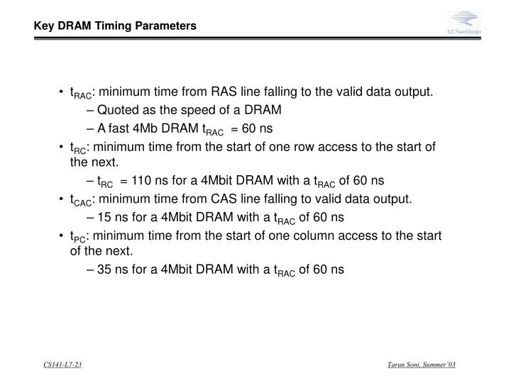 Key DRAM Timing Parameters