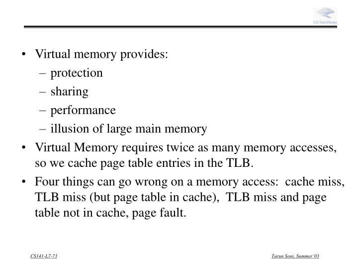Virtual memory provides: