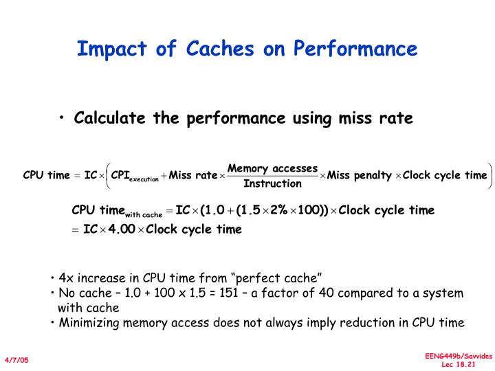 Impact of Caches on Performance