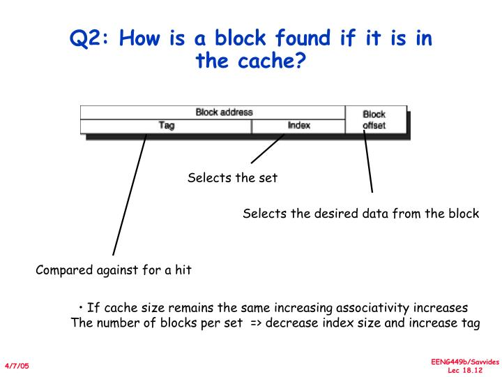 Q2: How is a block found if it is in the cache?