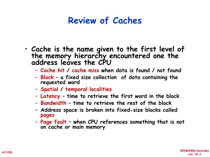 Review of caches