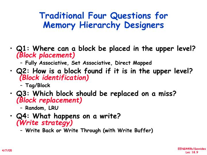 Traditional Four Questions for Memory Hierarchy Designers