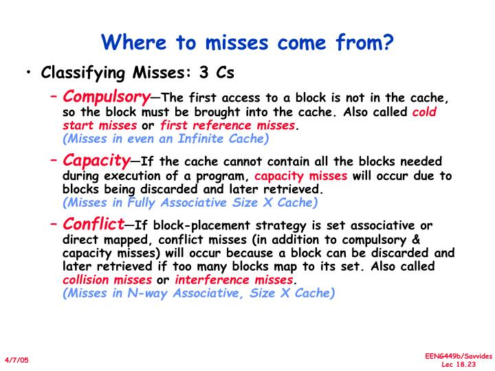 Where to misses come from?