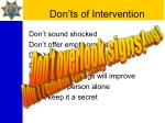 don ts of intervention