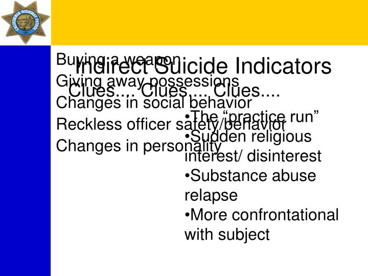 Indirect Suicide Indicators