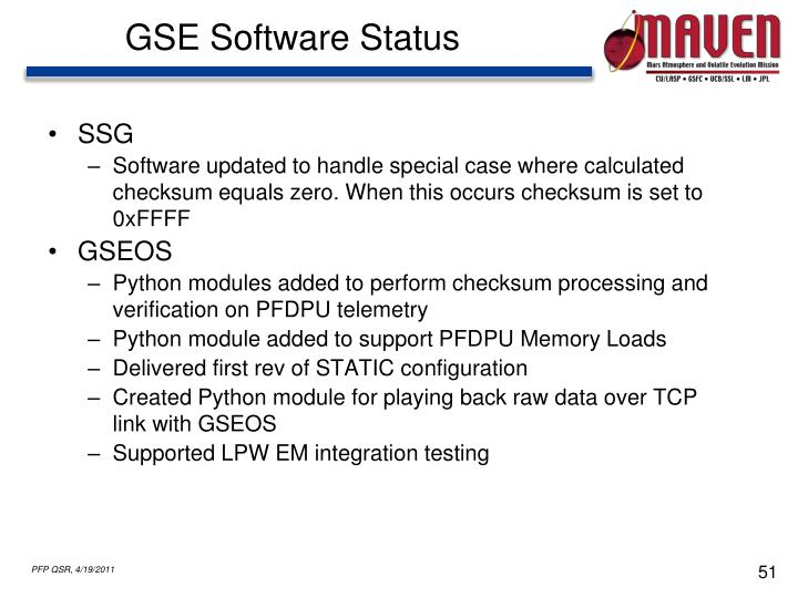 GSE Software Status