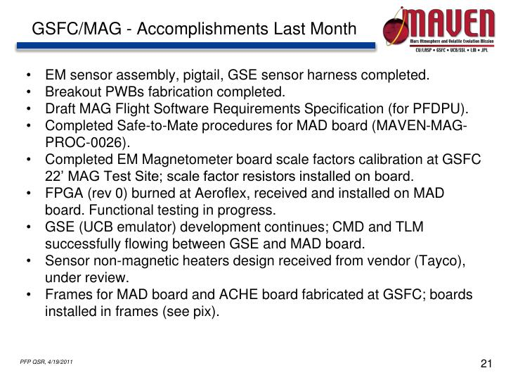 GSFC/MAG - Accomplishments Last Month