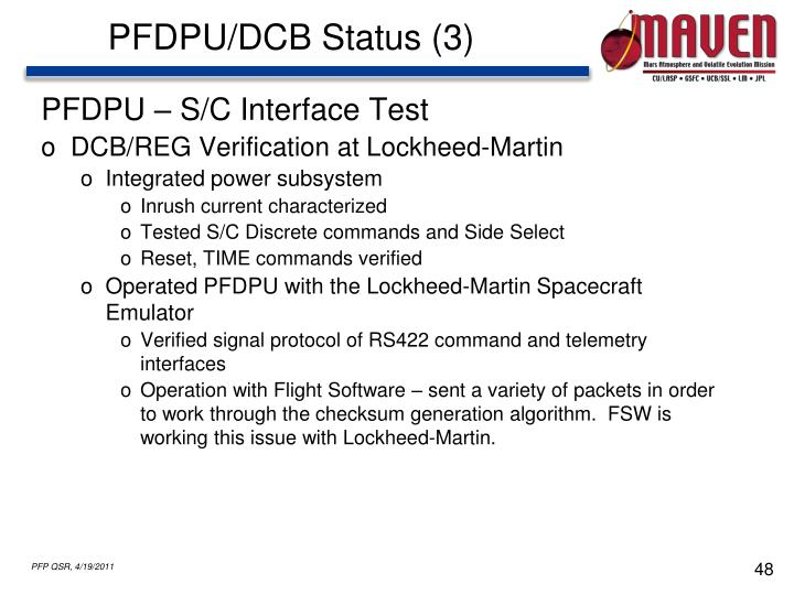 PFDPU/DCB Status (3)