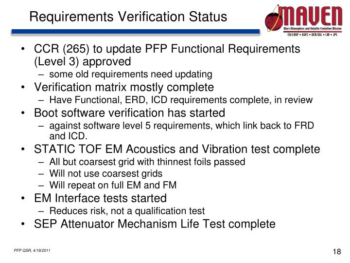 Requirements Verification Status